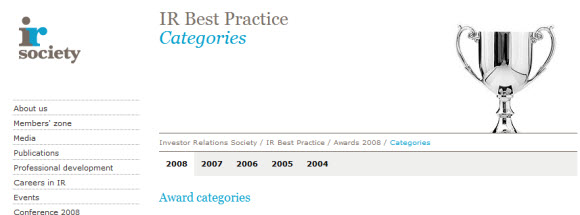 irsocietyawards Best Practice Awards: IR Society Shortlist