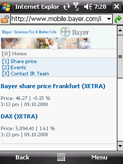Bayer IR Mobile Page