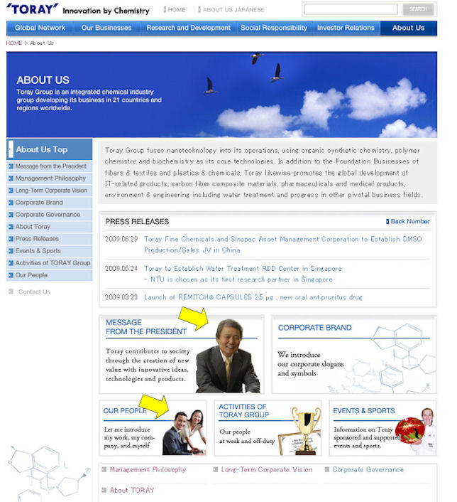 torayabout Toray Group Website    Effective Use Of Visuals