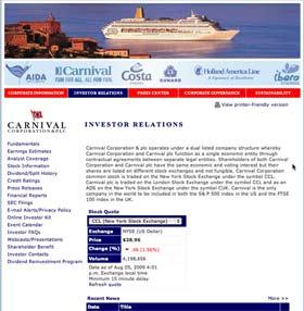 Carnival Investor Relations