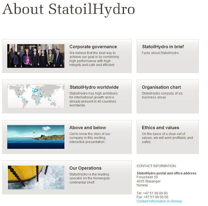 staoilabout1 StatoilHydro: engaging through innovation
