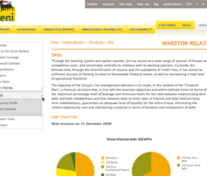 ENI debt page sm What Makes for Effective Investor Relations Sites?  Part 12: Remember the Debt Side of the Balance Sheet  