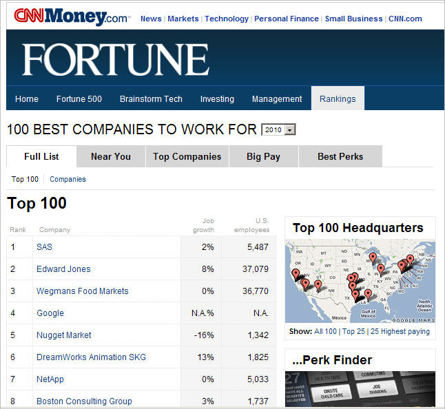 fortune top 100 list