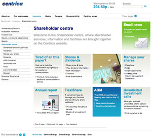 centrica sm What Makes for Effective Investor Relations Sites?  Part 17: Make the Individual Shareholder Feel Welcome