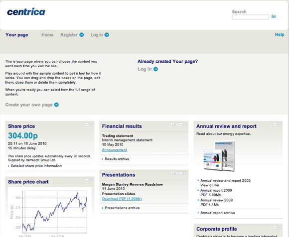 centrica your page What Makes for Effective Investor Relations Sites?  Part 19: Help Your Most Frequent Visitors