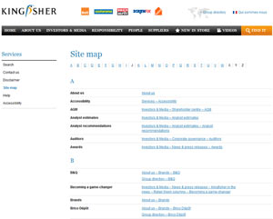 Kingfisher site map