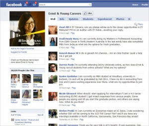 EY Facebook Wall1 300x255 Phenomenal Facebook, Part 2:  Corporate Recruiting