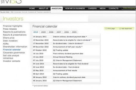Marks & Spencer financial calendar