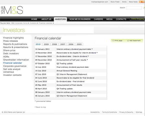 Marks &amp; Spencer financial calendar