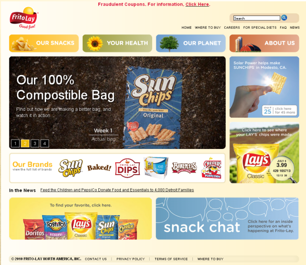 frito lay website home page New FritoLay Website Gets Good Grades