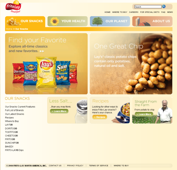 frito lay website our snacks page New FritoLay Website Gets Good Grades