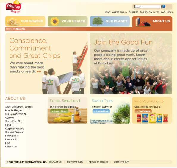 frito lay website our story page New FritoLay Website Gets Good Grades