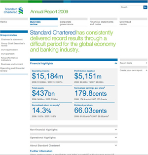 std chartered ar 1 sm What Makes for Effective Investor Relations Sites?  Part 21: Annual Reports – Give Readers a Choice in How to Access Them