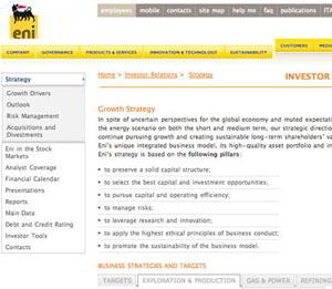 eni strategy 1 sm What Makes for Effective Investor Relations Sites?  Part 23: More on Strategy 