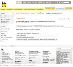 eni strategy 2 sm What Makes for Effective Investor Relations Sites?  Part 23: More on Strategy 