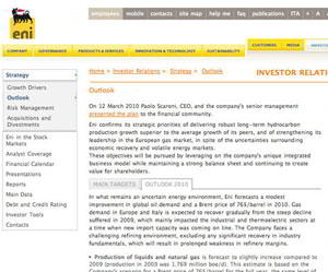 eni strategy 3 sm What Makes for Effective Investor Relations Sites?  Part 23: More on Strategy