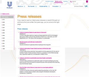 unilever 2 sm What Makes for Effective Investor Relations Sites?  Part 25: Let Investors See What You've Been Writing About