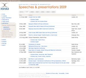 Xstrata Presentations