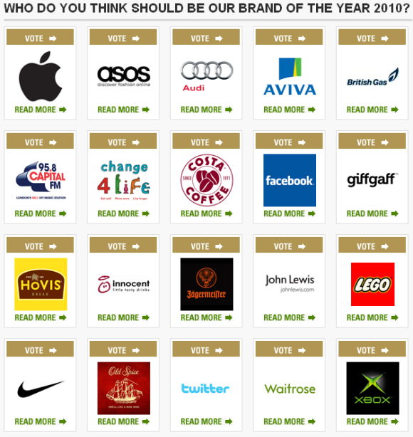 marketing society votes on top brands of 2010