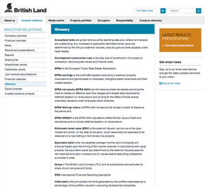 british land glossary sm1 What Makes for Effective Investor Relations Sites?  Part 30: Help Investors Understand Your Language