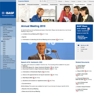 BASF annual mtg 300 What Makes for Effective Investor Relations Sites?  Part 31: Annual General Meetings