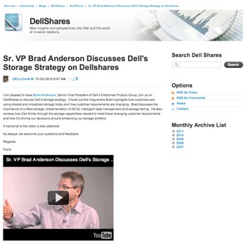 Dell video2 What Makes for Effective Investor Relations Sites?  Part 34: Video