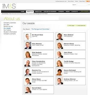 marks and spencer people s What Makes for Effective Investor Relations Sites?  Part 33: Introduce Management