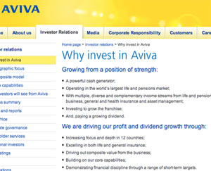 Aviva why invest sm What Makes for Effective Investor Relations Sites?  Part 38: Make the Investment Case
