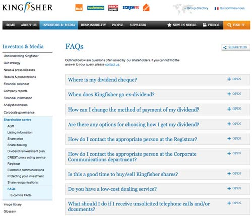 Kingfisher FAQ What Makes for Effective Investor Relations Sites?  Part 41: Dealing With Shareholders' Frequently Asked Questions