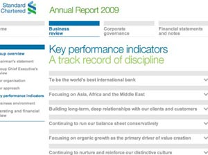 standard chartered kpi 1 s What Makes for Effective Investor Relations Sites?  Part 40: Key Performance Indicators