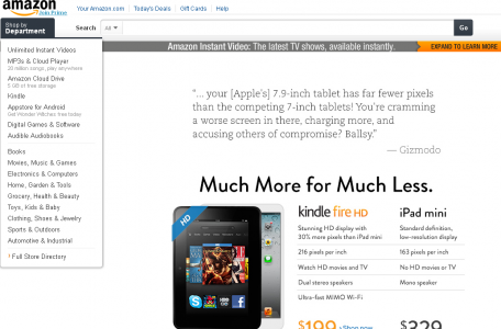 amazon home page kindle fire hd vs ipad mini
