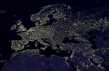 tThe night lights of Europe