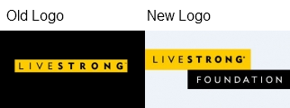 livestrong foundation logo old new Livestrong Rebrands as Livestrong Foundation without Lance Armstrong