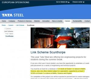 Tata Steel work experience