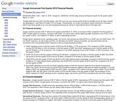 Google Invites Investors Home