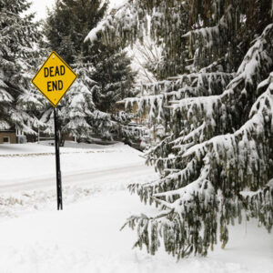 dead end sign in snow